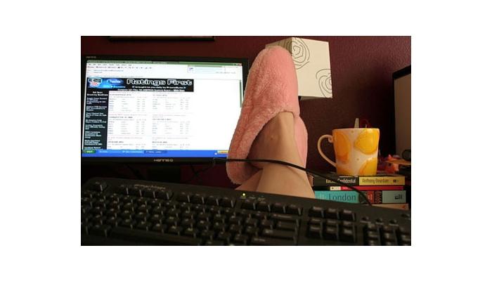 Emprendimiento trabajando fuera de casa